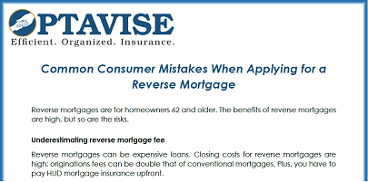 Common Consumer Mistakes When Applying for a Reverse Mortgage