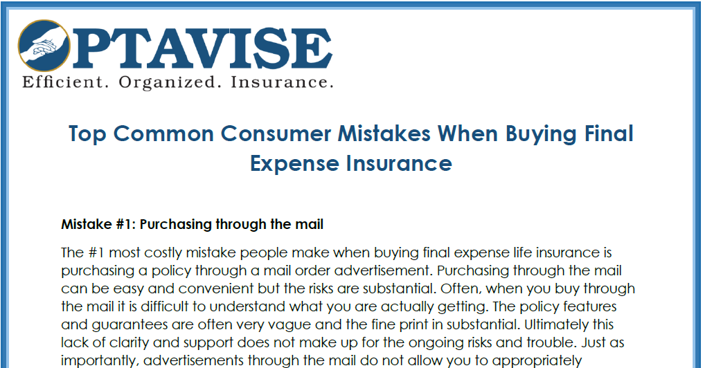 Consumer Mistakes When Buying Final Expense Life Insurance