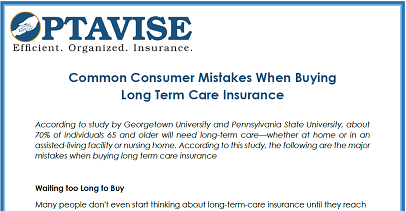 Consumer Mistakes When Buying Long Term Care Insurance