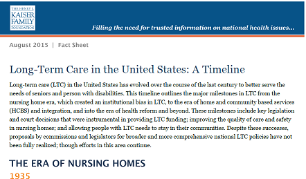 KFF long term care in the united states a timeline