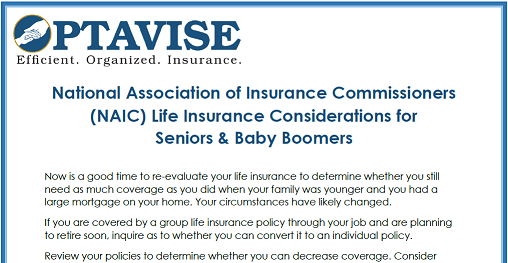 NAIC Considerations for Life Insurance Baby Boomers and Seniors