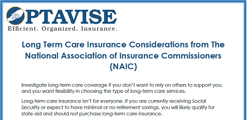 NAIC Considerations for Long Term Care Insurance