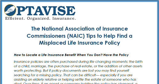 NAIC How to Locate Lost Life Insurance Policy