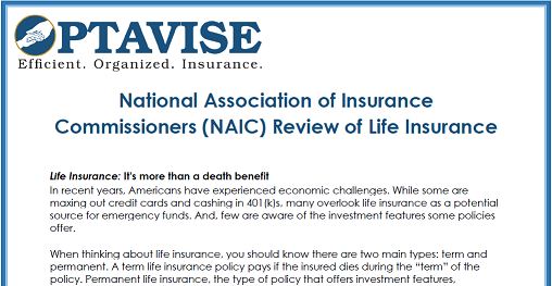 NAIC Review of Life Insurance