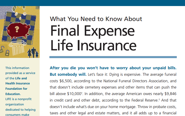 Final Expense Insurance Guide from The LIFE Foundation
